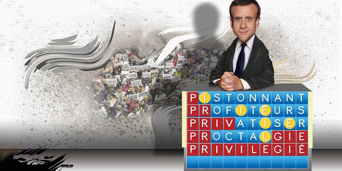 dessin d'actualité humoristique d'Emmanuel Macron participant au jeu Motus