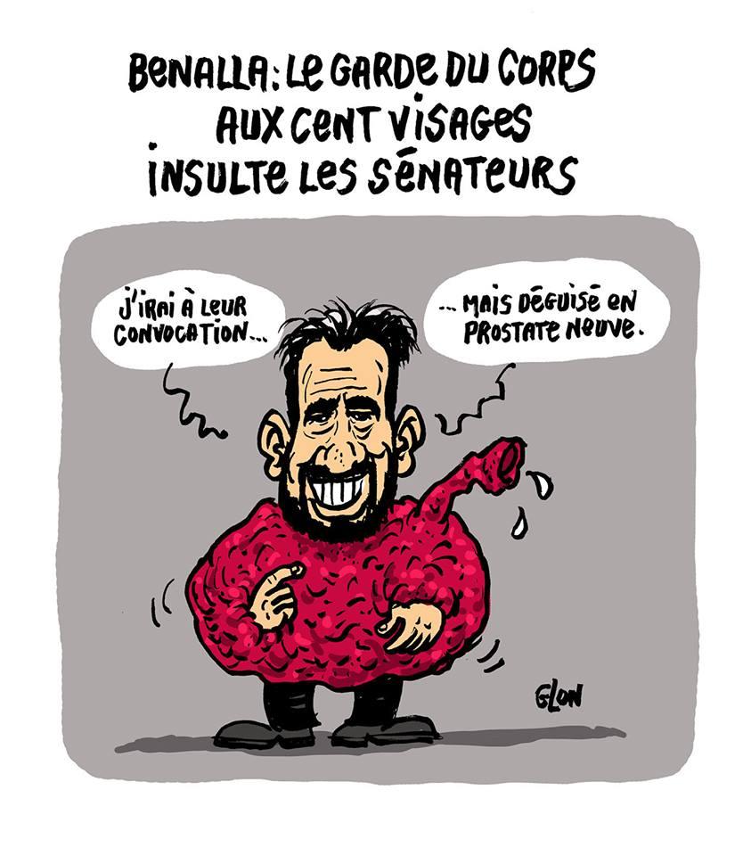 dessin d'actualité humoristique sur la convocation d'Alexandre Benalla devant les sénateurs