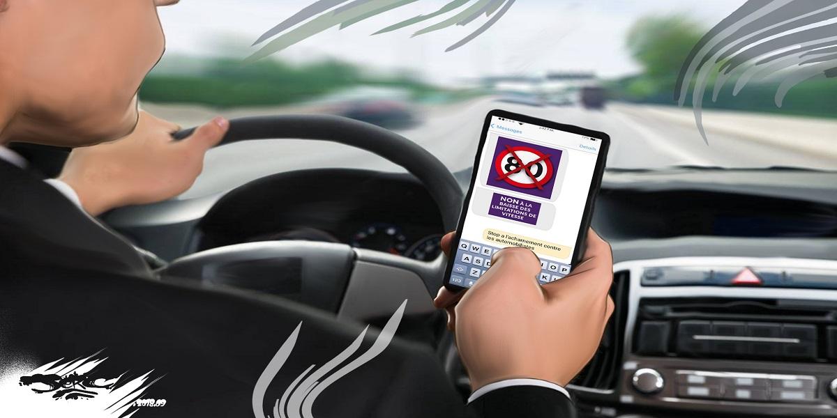 dessin d'actualité drôle sur les limitations de vitesse et le téléphone au volant