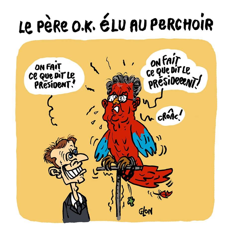 dessin d'actualité sur la nomination de Richard Ferrand au perchoir de l'Assemblée Nationale, perroquet d'Emmanuel Macron