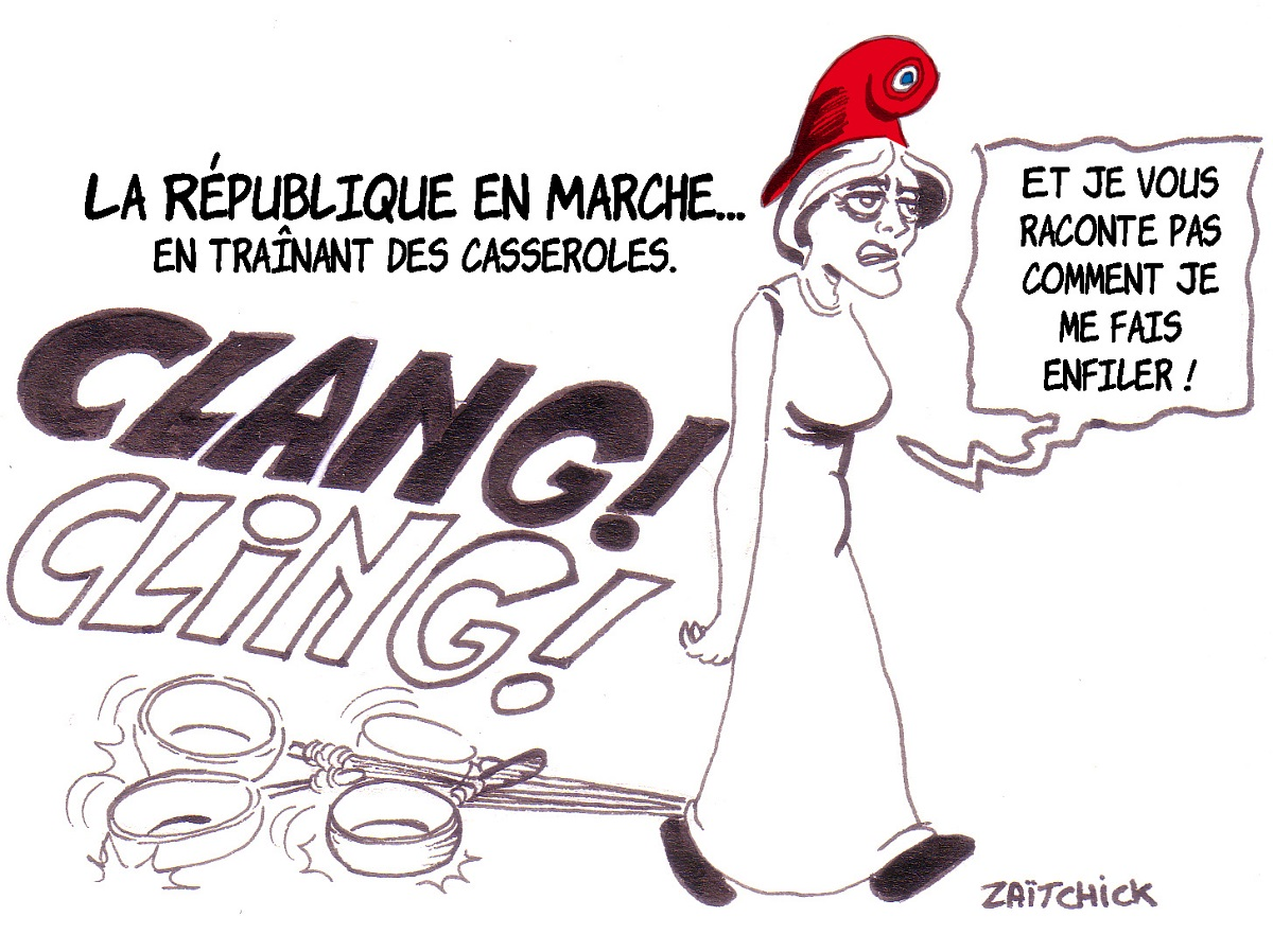 dessin d'actualité humoristique montrant Marianne entravée par les casseroles de la République en Marche