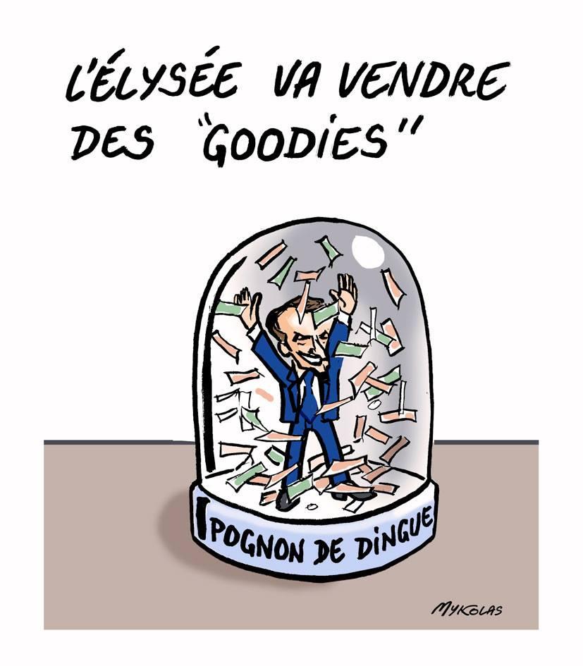 """dessin d'actualité humoristique montrant une boule à neige """"Pognon de dingue"""" de la boutique de l'Élysée"""