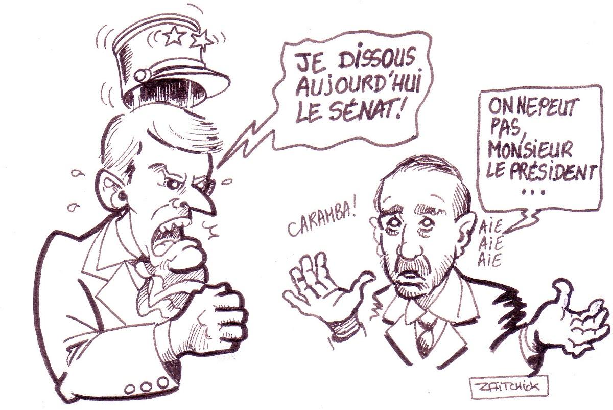 dessin d'actualité drôle d'Emmanuel Macron réagissant à l'audition d'Alexandre Benalla par le Sénat