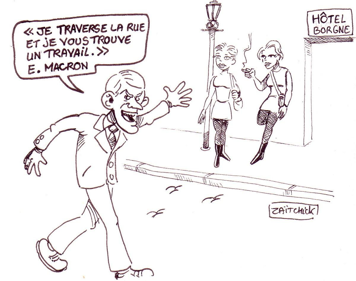dessin d'actualité humoristique sur Emmanuel Macron trouvant un travail en traversant la rue