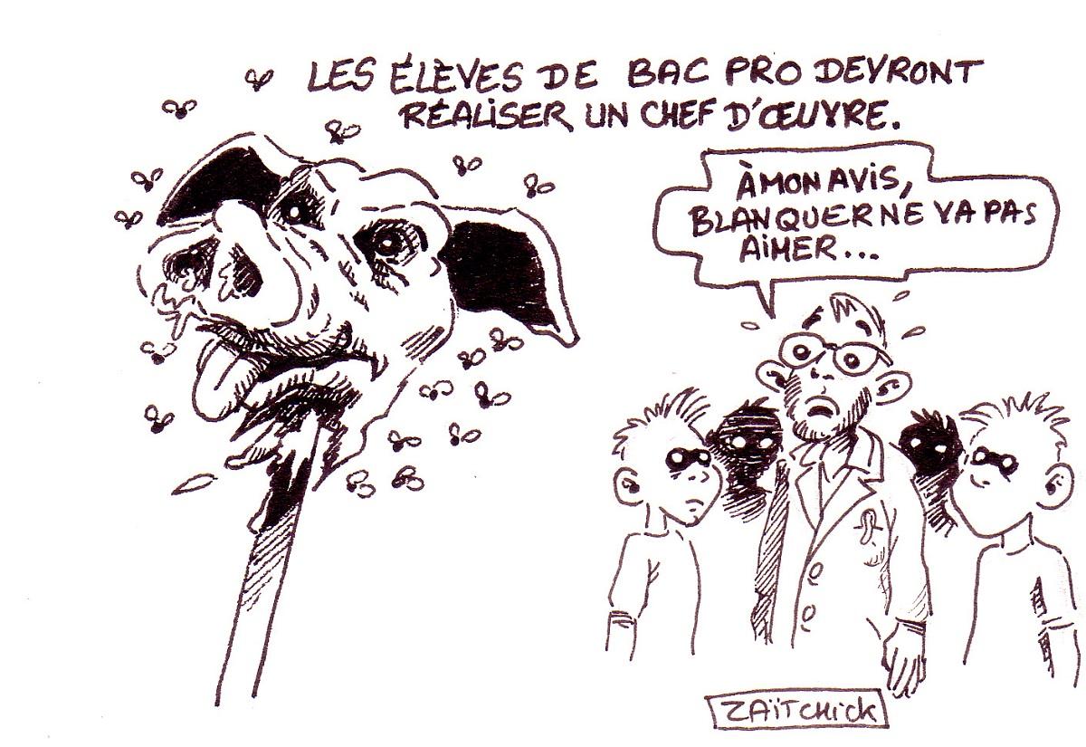 dessin d'actualité humoristique du chef d'oeuvre réalisé par les élèves de Bac Pro