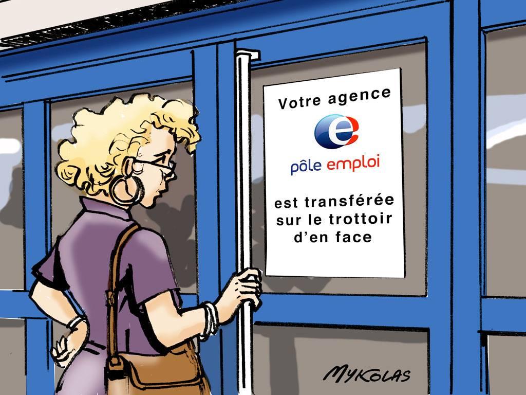 dessin d'actualité humoristique sur Emmanuel Macron qui propose de traverser la rue pour trouver un emploi