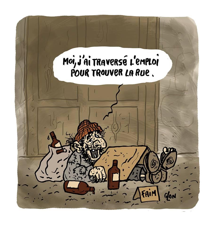 dessin d'actualité humoristique d'un chômeur SDF répondant à Emmanuel Macron qui propose de traverser la rue pour trouver un travail