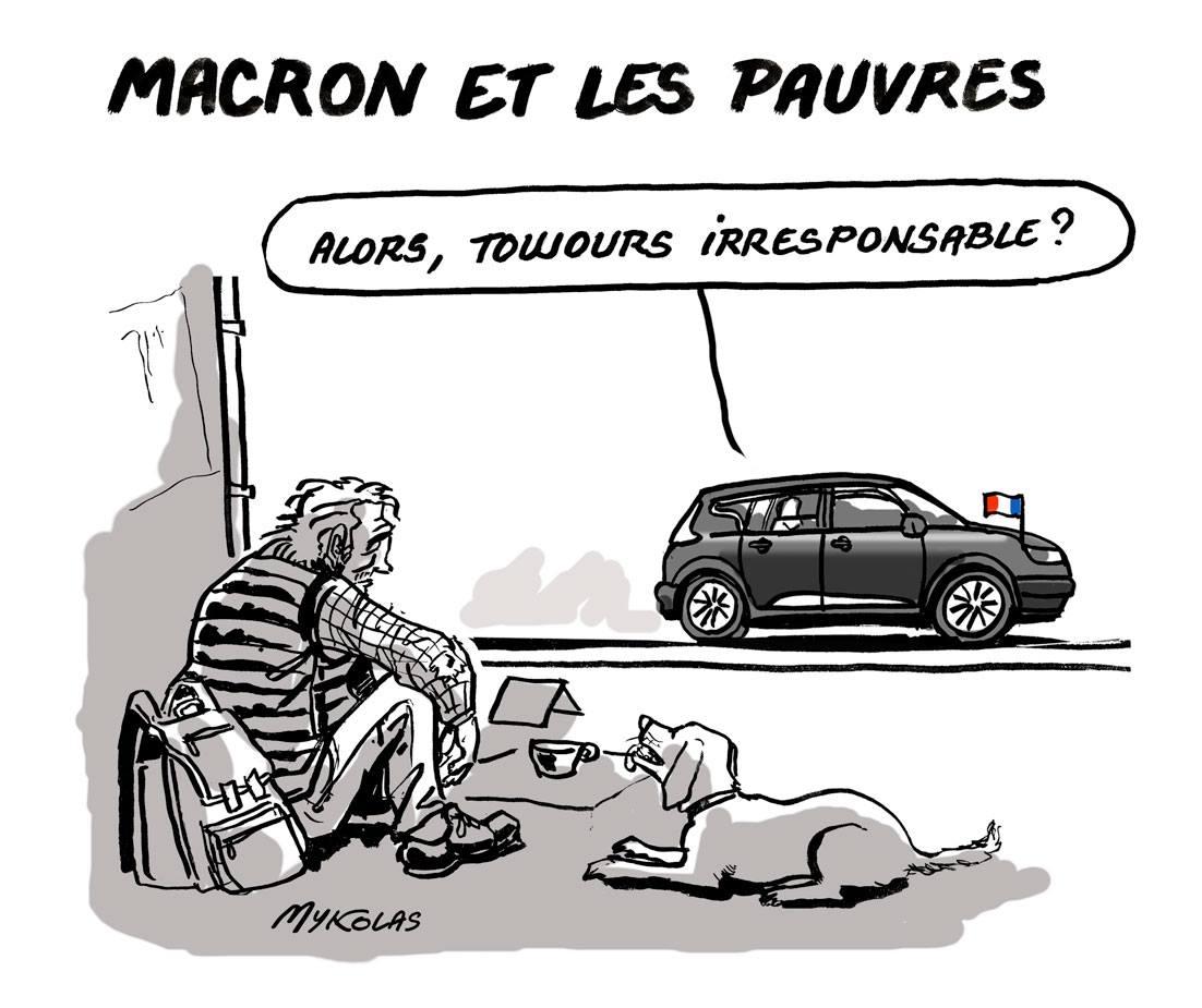 Dessin d'actualité humoristique d'Emmanuel Macron passant en voiture devant un pauvre
