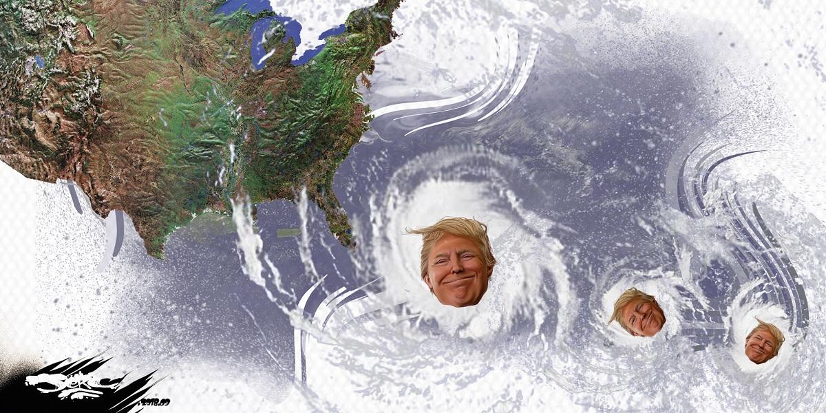 dessin d'actualité humoristique de Donald Trump en tempête tropicale Florence
