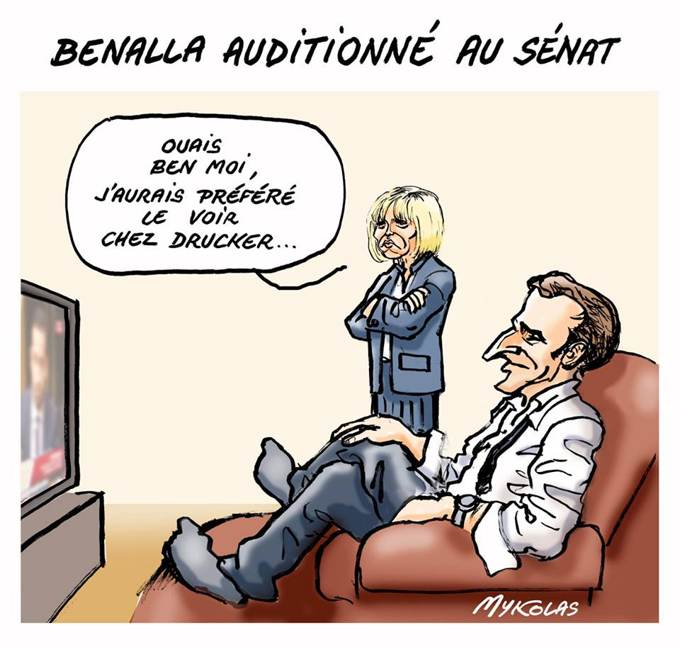 dessin d'actualité humoristique d'Emmanuel Macron et de Brigitte Macron commentant l'audition d'Alexandre Benalla au Sénat