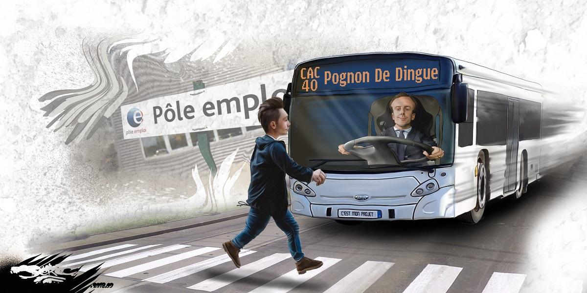 dessin d'actualité humoristique du bus de l'emploi d'Emmanuel Macron
