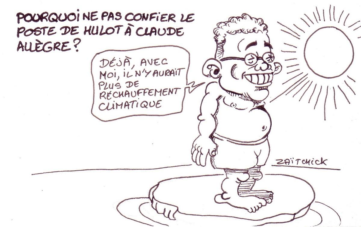 dessin d'actualité sur le successeur possible de Nicolas Hulot à l'écologie