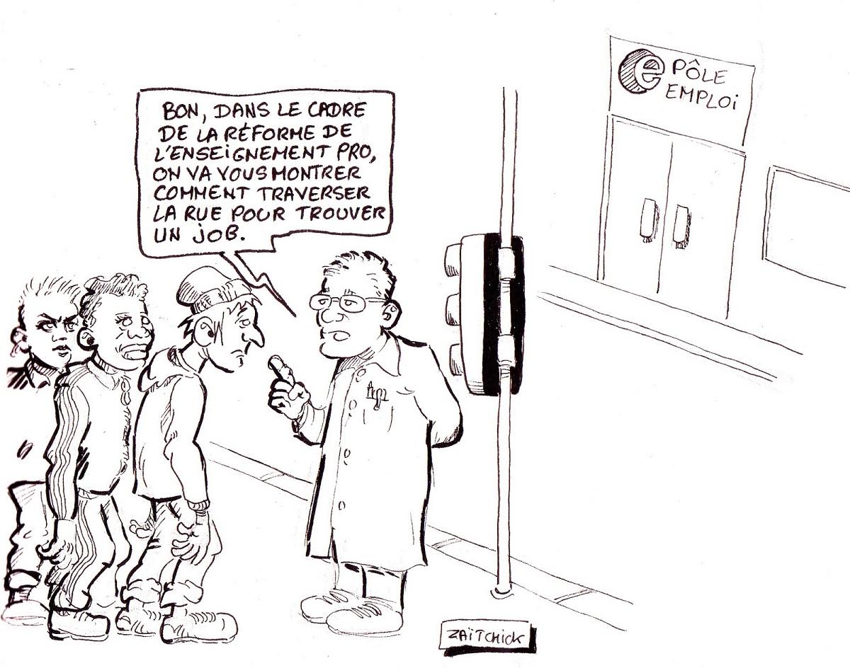 dessin d'actualité humoristique d'un professeur d'enseignement professionnel apprenant aux élèves à traverser la rue