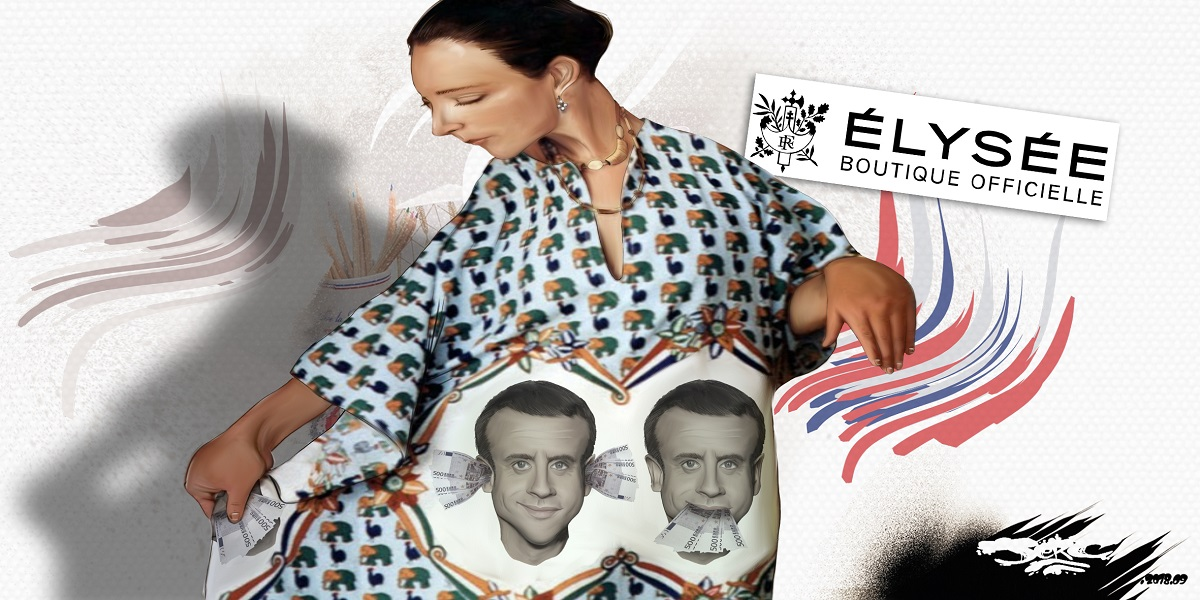 dessin d'actualité humoristique sur Emmanuel Macron et la boutique de l'Élysée