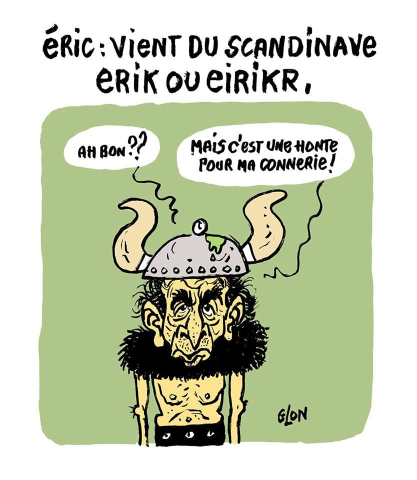 dessin humotistique d'Éric Zemmour apprenant l'origine de son prénom après la polémique avec Hapsatou Sy