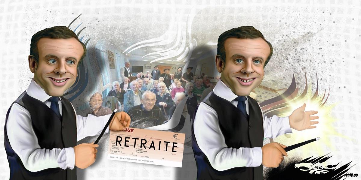 dessin d'actualité humoristique d'Emmanuel Macron en magicien escamotant les retraites
