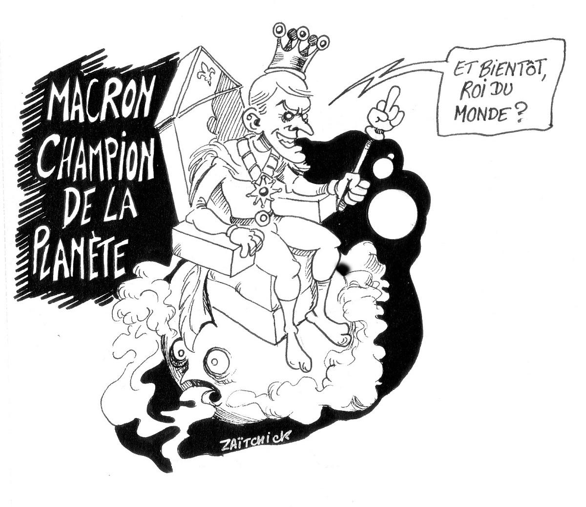 dessin d'actualité humoristique sur la nomination d'Emmanuel Macron Champion de la Planète par l'ONU