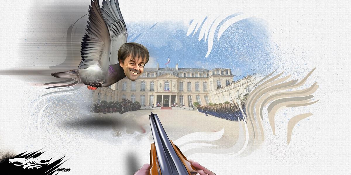 dessin d'actualité humoristique sur la démission forcée de Nicolas Hulot, cible des chasseurs