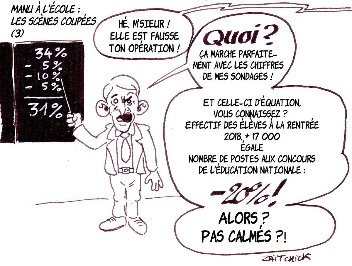 dessin d'actualité humoristique sur le déplacement d'Emmanuel Macron au Collège Jules Renard de Laval pour la rentrée scolaire 2018