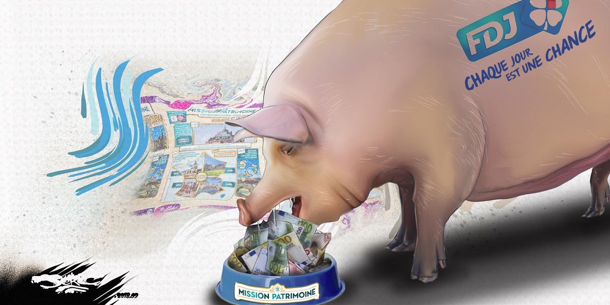 dessin d'actualité humoristique du loto du patrimoine engraissant la Française des Jeux