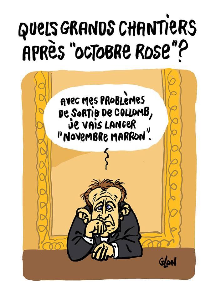 dessin d'actualité humoristique d'Emmanuel Macron consterné après la démission de Gérard Collomb et la perspective du remaniement ministériel