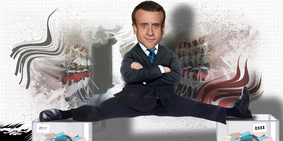 dessin d'actualité humoristique sur la campagne présidentielle permanente du Président Macron