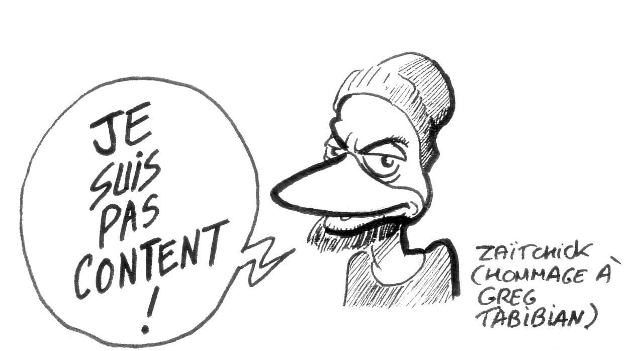 dessin d'actualité en hommage à Greg Tabibian et sa chaîne YouTube « J'suis pas content ! »