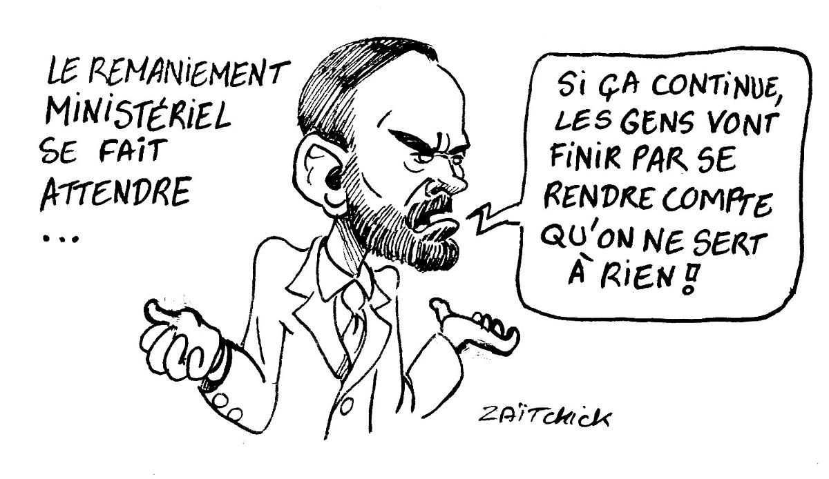 dessin d'actualité humoristique d'Édouard Philippe parlant de l'attente du remaniement ministériel