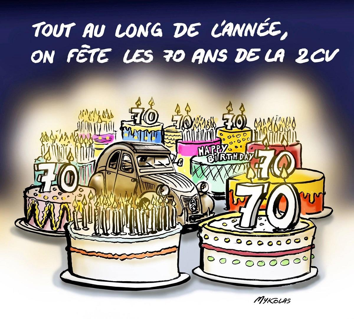 Dessin d'actualité humoristique sur l'anniversaire des 70 ans de la 2 CV
