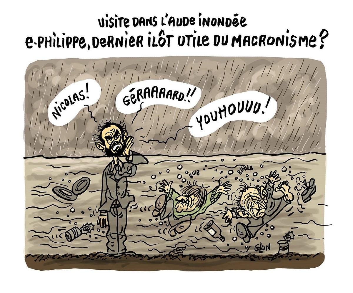 dessin d'actualité humoristique sur le déplacement d'Édouard Philippe dans l'Aude après les inondations