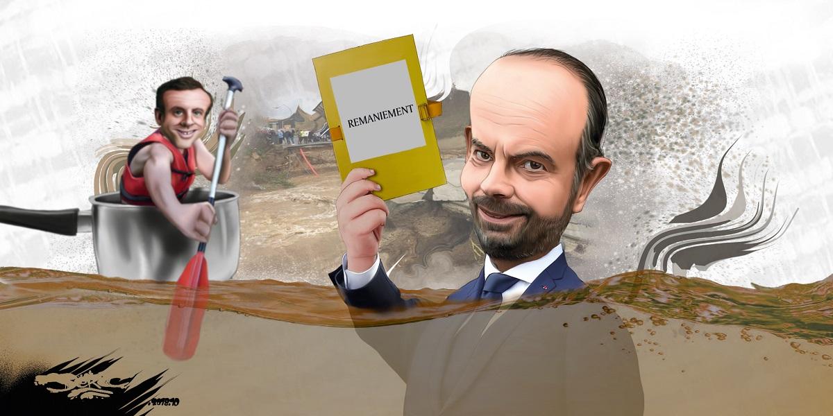 dessin d'actualité humoristique sur le déplacement d'Édouard Philippe dans l'Aude après les inondations et le remaniement ministériel