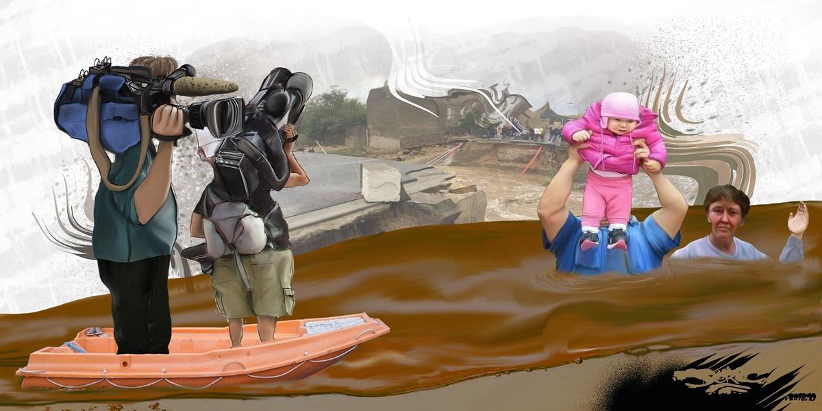 dessin d'actualité sur les inondations dans l'Aude
