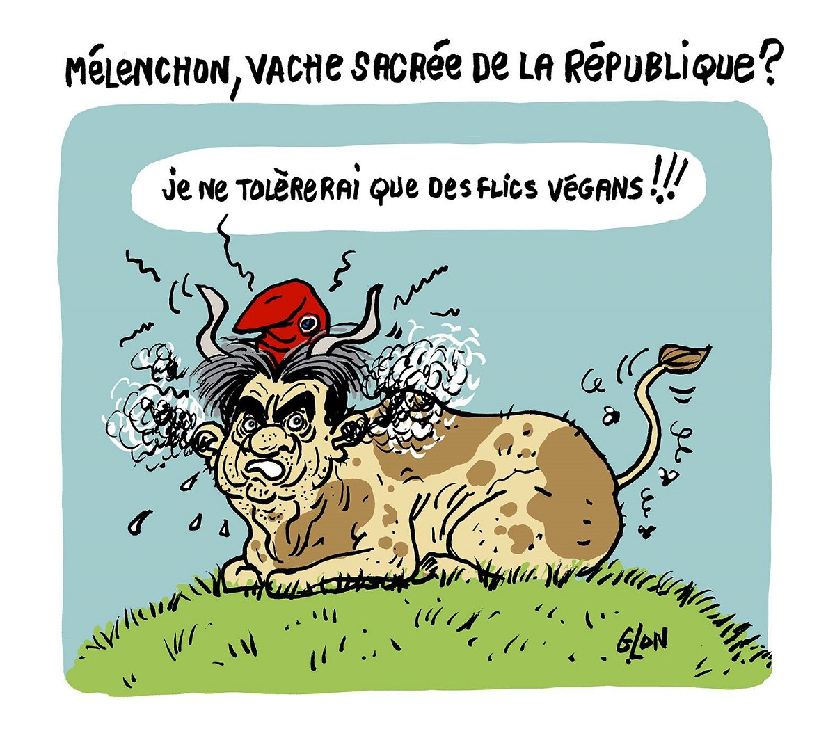 dessin d'actualité humoristique sur la perquisition chez les Insoumis et la réaction de Jean-Luc Mélenchon