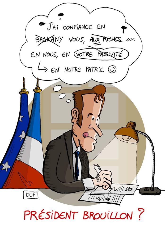 dessin d'actualité humoristique sur le discours d'Emmanuel Macron et le brouillon qu'il a rédigé