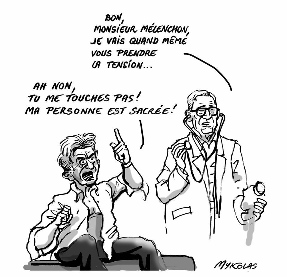 dessin d'actualité sur la personne sacrée de Jean-Luc Mélenchon
