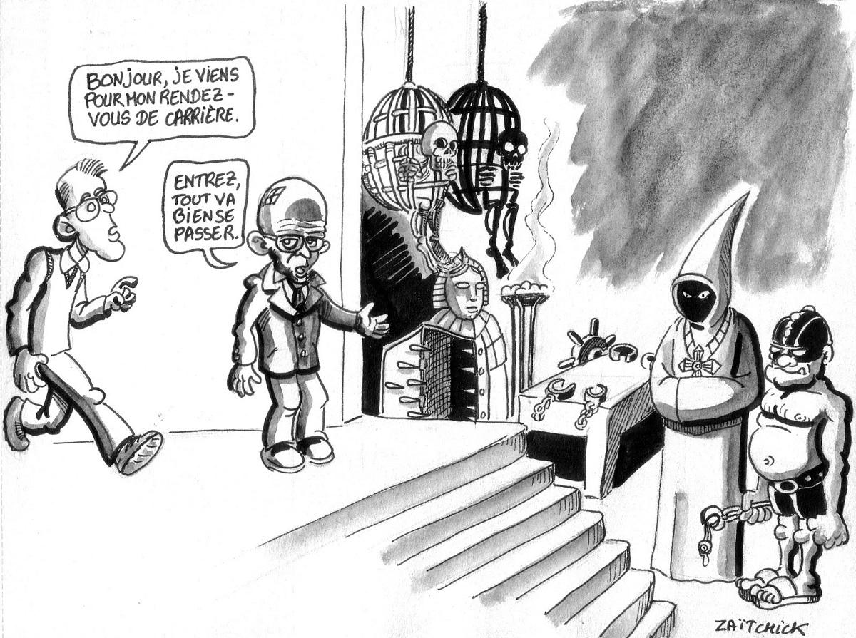 dessin d'actualité humoristique d'un rendez-vous de carrière à l'Éducation Nationale
