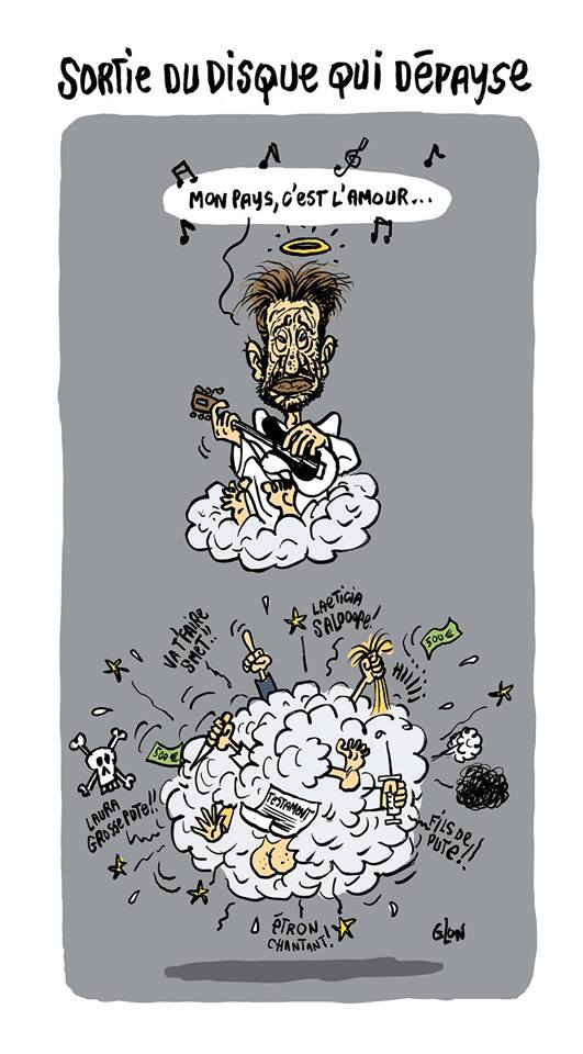 """dessin d'actualité humoristique sur la sortie de l'album posthume de Johnny Hallyday """"Mon pays c'est l'amour"""""""