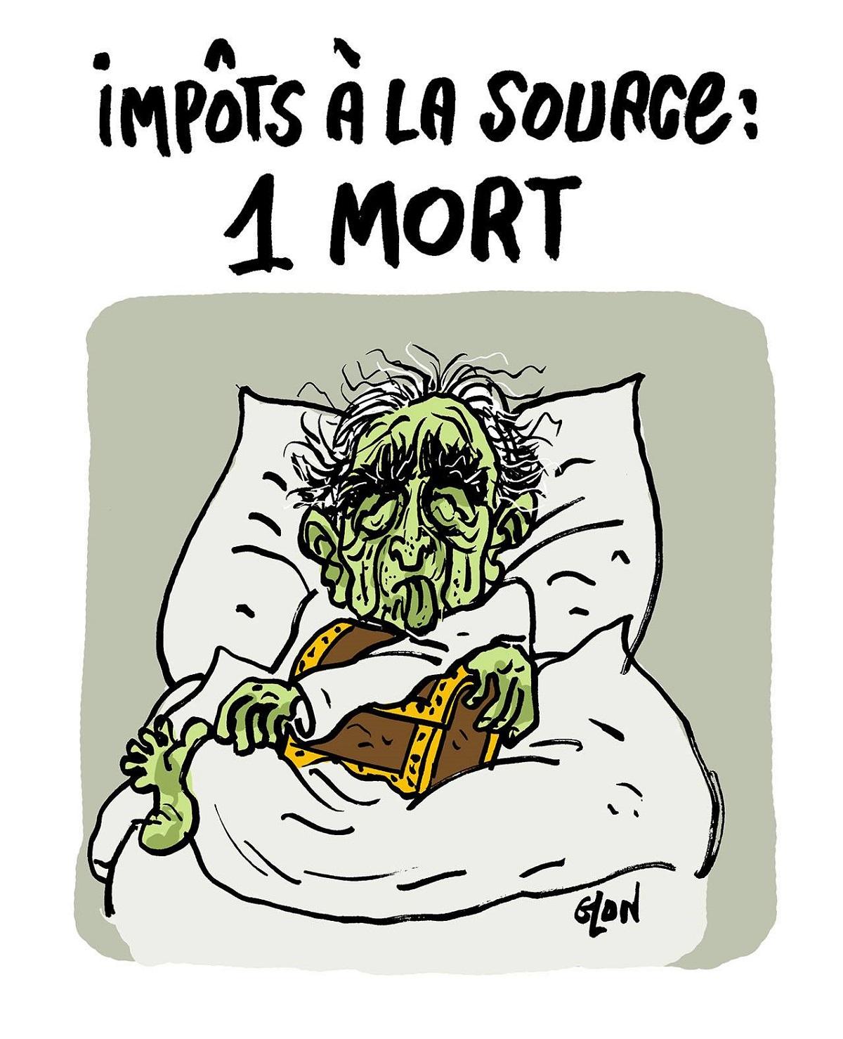 dessin d'actualité humoristique sur la disparition de Charles Aznavour