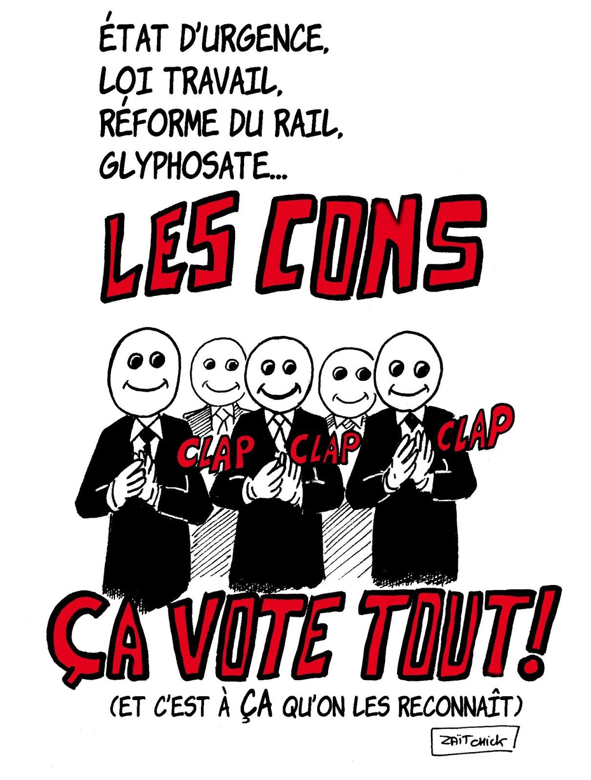 dessin d'actualité humoristique sur les cons qui sont contre mais qui votent pour