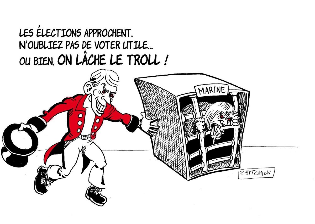 dessin d'actualité drôle sur Emmanuel Macron et l'approche des élections européennes