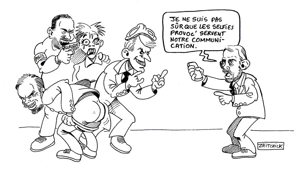 dessin d'actualité humoristique de la communication provocatrice du gouvernement Macron