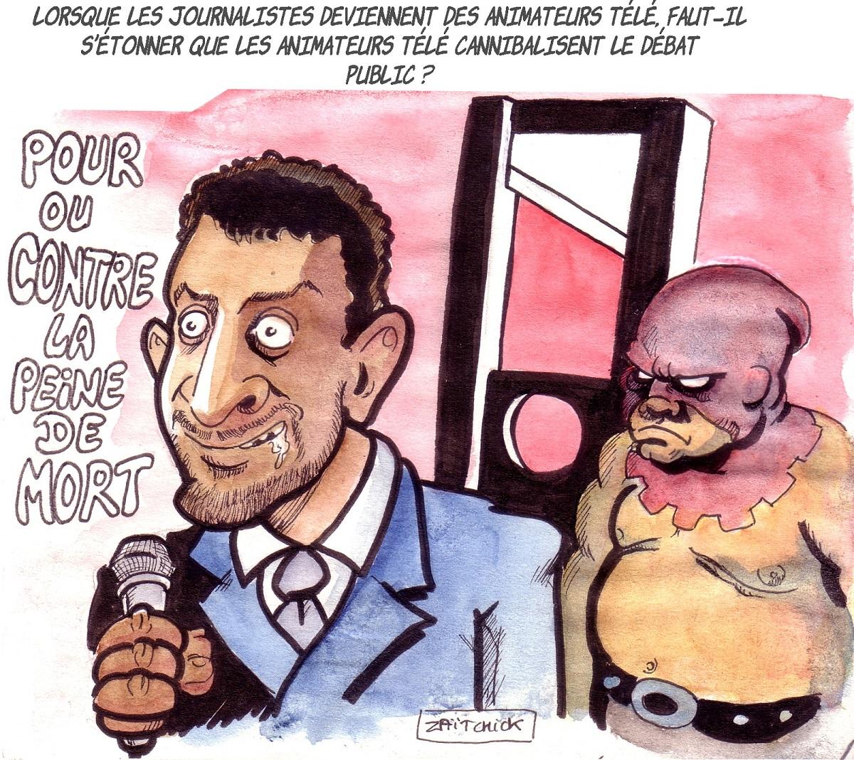 dessin d'actualité humoristique sur les débats de Balance ton post de Cyril Hanouna