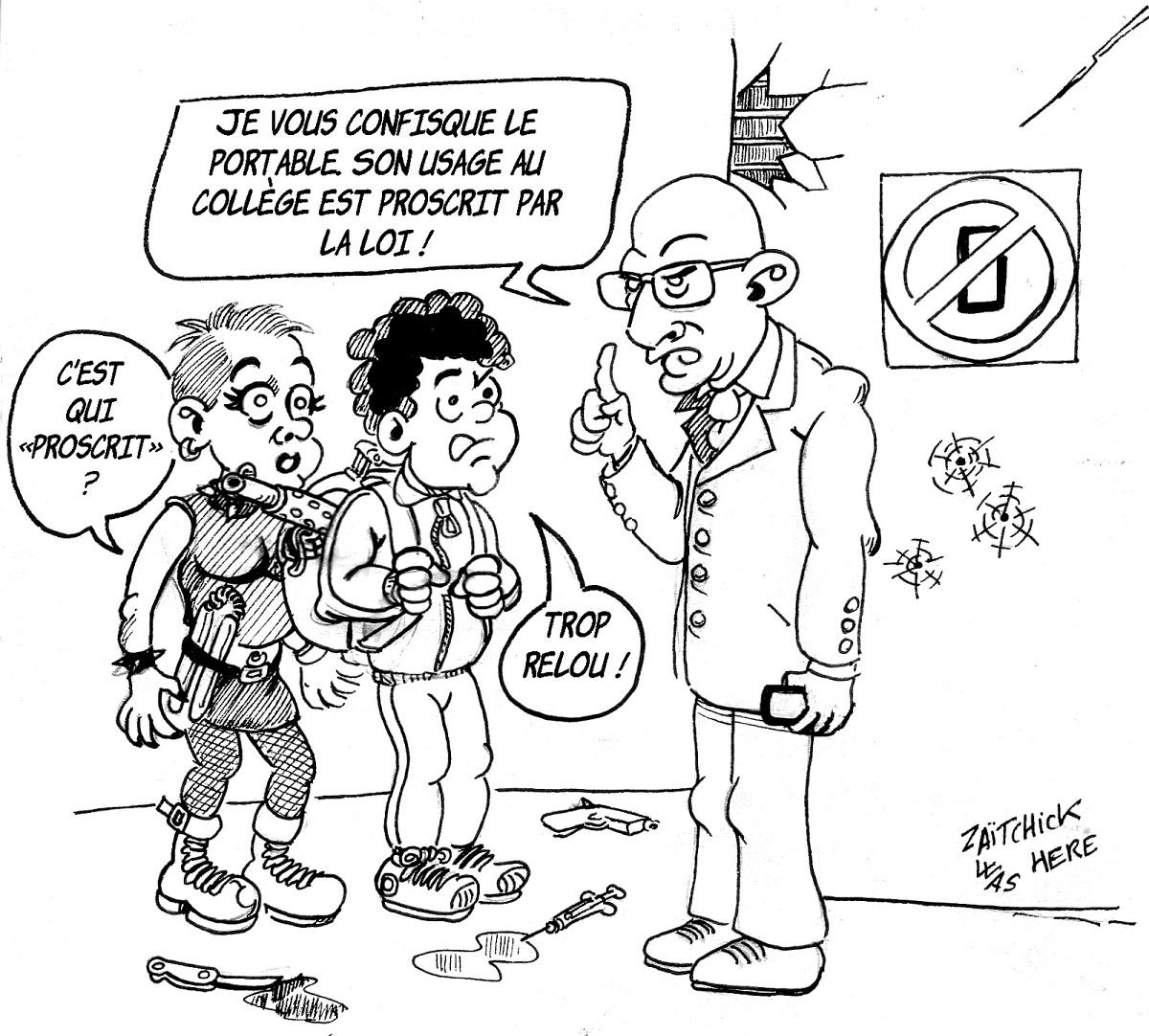dessin d'actualité sur l'interdiction du portable à l'école