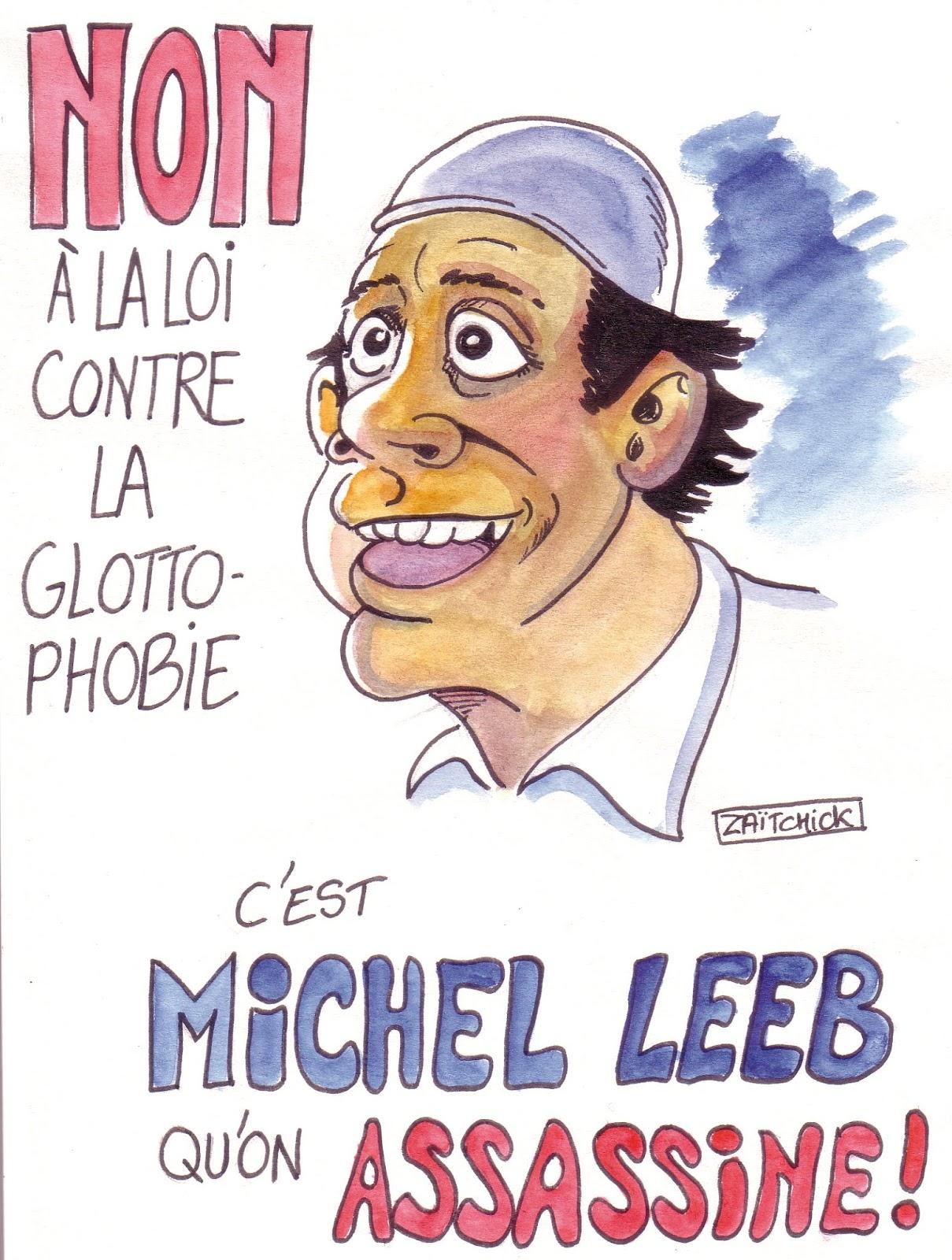 dessin d'actualité humoristique sur le projet de loi contre la glottophobie et Michel Leeb