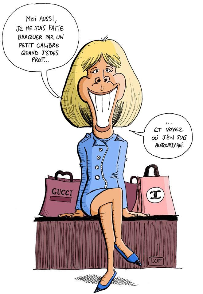 dessin d'actualité humoristique sur le braquage d'une enseignante par un lycéen pour l'inscrire comme présent