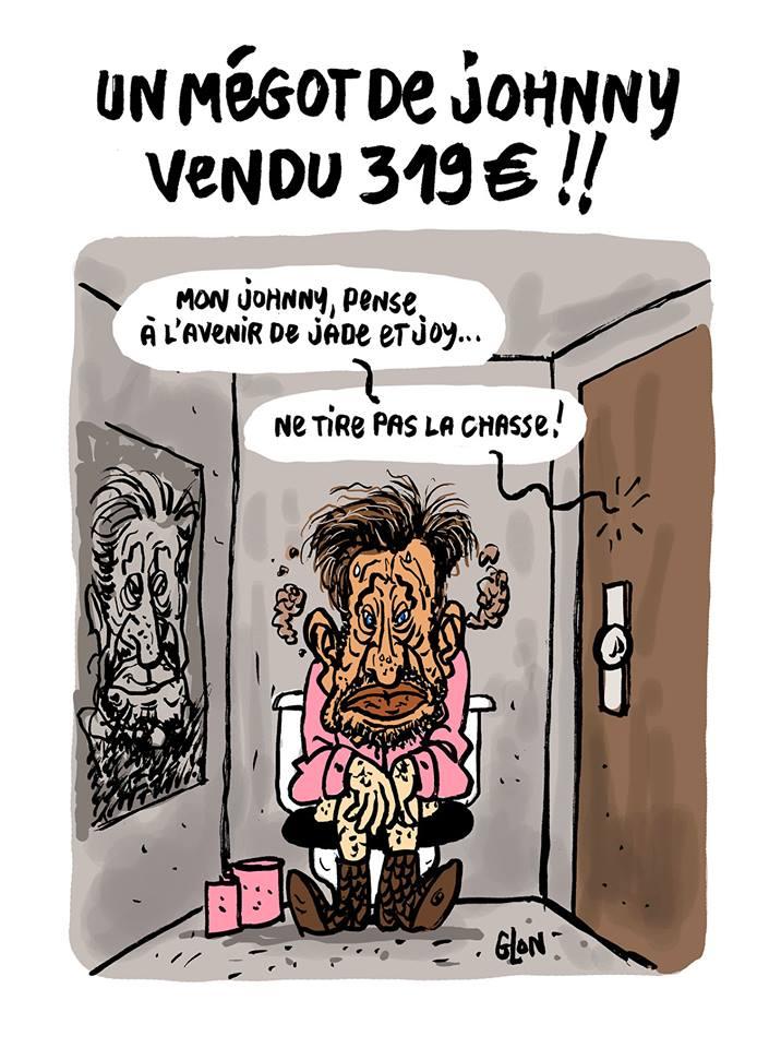 dessin d'actualité humoristique sur la vente aux enchères d'un mégot de Johnny Hallyday