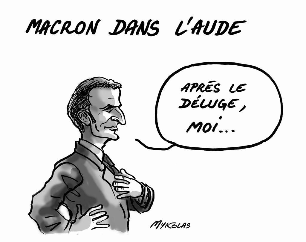 dessin d'actualité humoristique sur le déplacement d'Emmanuel Macron dans l'Aude