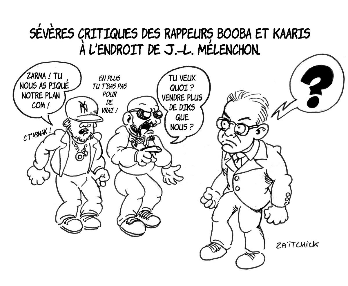 dessin d'actualité humoristique sur le comportement de Jean-Luc Mélenchon pendant les perquisitions