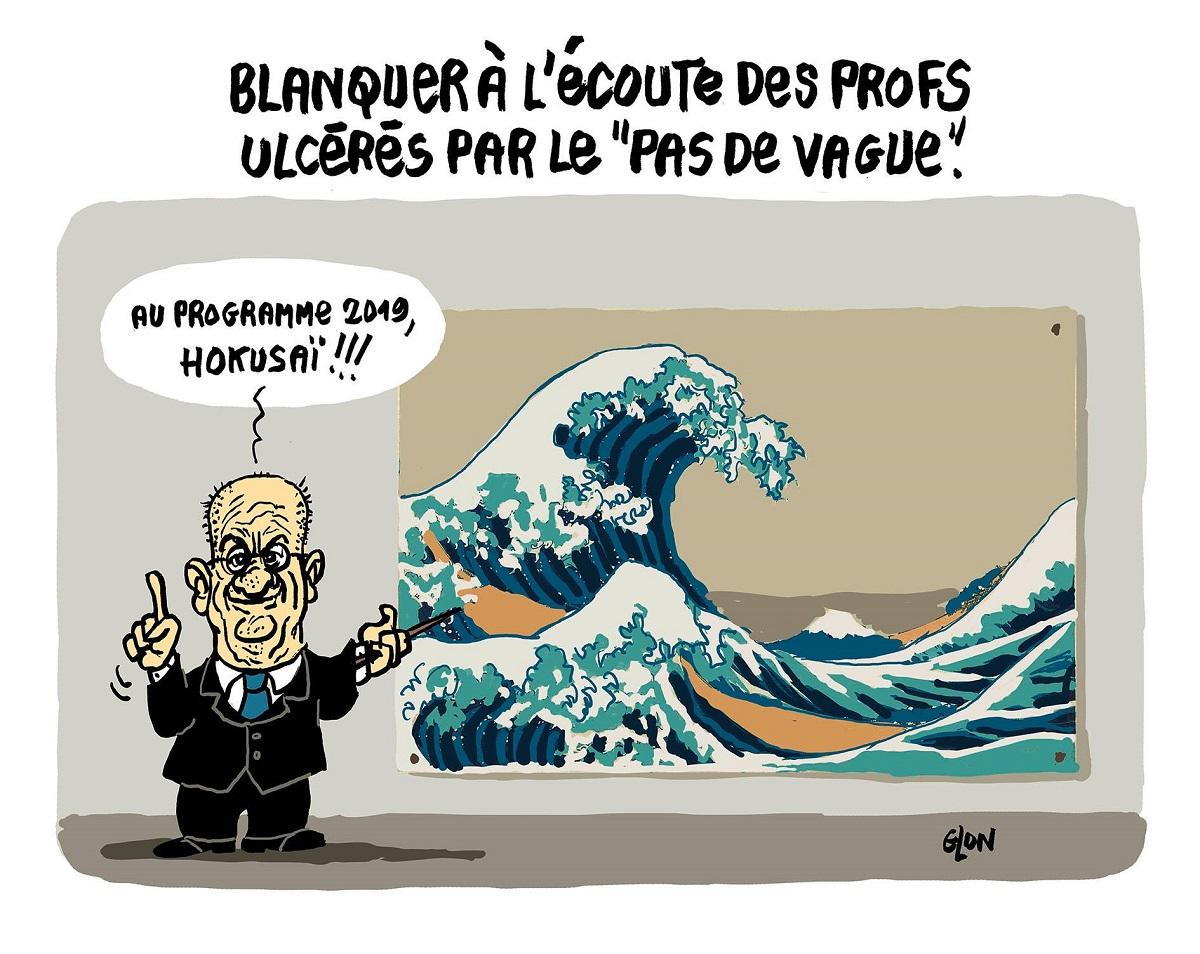 """dessin d'actualité sur l'attitude de Jean-Michel Blanquer face au phénomène du """"pas de vague"""""""