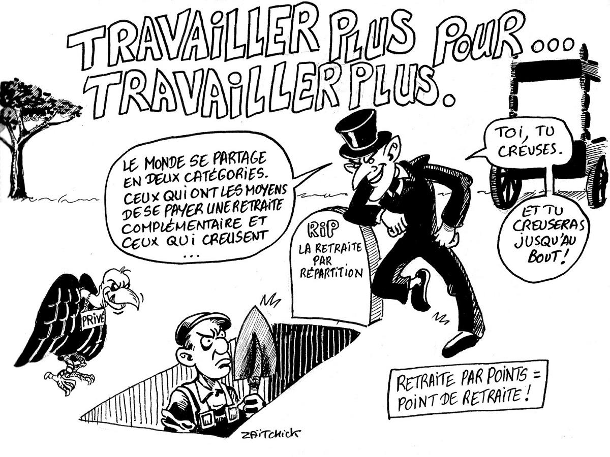 dessin d'actualité humoristique sur la réforme des retraites